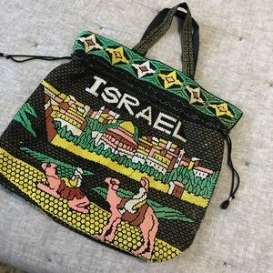 Israel painted bead tote purse